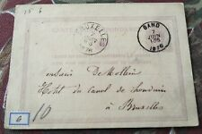Brussels To Gand (Ghent) Belgium 1876 Postal Card Stationery