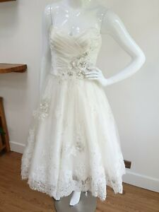 RRP£1495 Couture MAGGIE SOTTERO Silk Wedding Dress Midi Knee Length size 6 Ivory