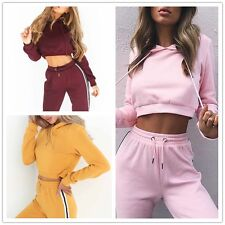 Women Yoga Suits Sports Crop Tops+Pants Gym Tracksuits Casual Hoodies Set
