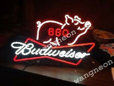 RARE Budweiser BBQ Barbecue Beer Bar Bud Light Neon Sign FAST FREE SHIPPING