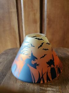 Yankee Candle Witch Cat Trees, Halloween Tombstone Spooky Frosted Jar Shade New