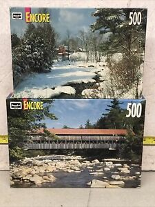 """""""2 New Encore Puzzles Albany Covered Bridge And Brownsville VT 500 Pieces Each"""