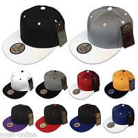 NEW PLAIN SNAPBACK CAP BLACK BASEBALL ERA HIP HOP RETRO FITTED FLAT PEAK HAT