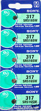 5 New SONY SR516SW Silver Oxide 1.55v Watch Batteries MADE in JAPAN Aussie Stock