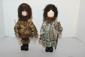 2 Vintage Handmade Alaskan Eskimo Doll By Linda Berget & Made In Alaska