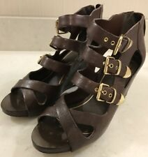 Dolce Vita Helix Brown Leather Gladiator Studs Buckle Wedge Sandal Heel Italy 9