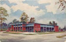 Port City Michigan~Peoples Federal Savings And Loan~1950s Artist Postcard