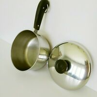 Vintage 1801 Revere Ware Stainless Steel Copper Bottom 1.5 Qt Sauce Pan and Lid
