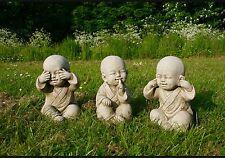 SET of 3 LARGE WISE BUDDHAS SEE HEAR SPEAK NO EVIL Stone Garden Ornament Statue