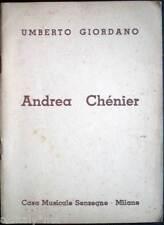 1896 libretto teatro ANDREA CHENIER Umberto Giordano ediz.Casa Musicale Sonzogno