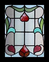 Art Nouveau Floral Antique English Stained Glass Window