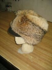 Coyote Fur Hat with Bill Hat