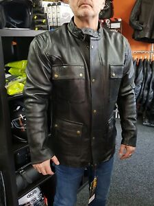 BUSA Old School Bikers Classic Waxed Oiled Cowhide Leather CE Motorcycle Jacket