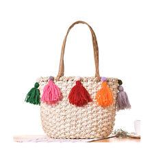 Tassel Women Holiday Beach Bag Weave Rattan Straw Handbags