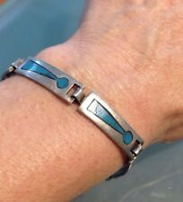 Turquoise Taxco Mexican Sterling Silver Panel Link Bracelet Signed  Miguel Vtg.