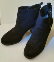 Black Suede Side Zip Ankle Boots with Round Toe H & M Womens Size 9 1/2 (9.5)