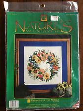 NATURE'S WINDOW #5406 'WILDFLOWERS' Cross Stitch Kit 14 ct Aida ~ Floral Wreath