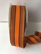 """1.5"""" Grosgrain Striped Ribbon –Orange/Brown/Tan - BK36 - 5 yds"""