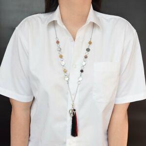 Women's Fashion Lanyards Beaded ID Badge Holder Stainless Steel Key Chain 34''