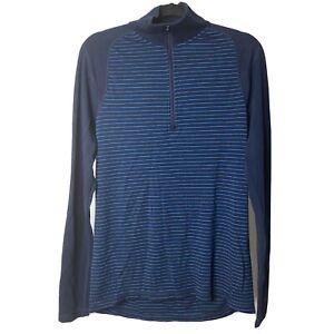 Smartwool Midweight 250 Zip T Blue Stripe Men's Base Layer sz L Merino Wool