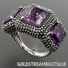 CLYDE DUNEIER 925 SILVER AMETHYST GRANULATED WIDE 3 STONE STATEMENT RING SZ 7.25