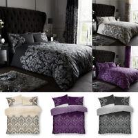 Empire Damask Duvet Covers Set Single Double Super King Sizes Reversible Bedding