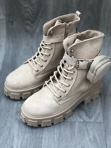 New Womens Chukka Ankle Boots Beige Sand Festival Blogger UK 7/40 Chunky Block