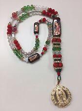 Rosario de la Virgen de Guadalupe Tri-color y medalla oro laminado hecha a mano