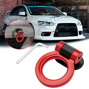 JDM Red Track Sport Style Plastic Tape Tow Hook Ring Decor For Mitsubishi Lancer