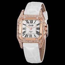 Rose Gold Bling Crystal Lady Women Girl White Bracelet Quartz Wrist Watch Tide