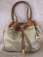 MICHAEL KORS 30H5GMAT7C Marina Gold Large Drawstring Purse Tote Handbag NWT