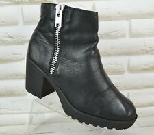 ROOTS Womens Black Leather Ankle Heeled Boots Shoes Zip Size 6 UK 39 EU