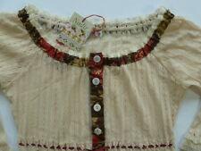 Nadir Prezzo Giacchino Ursula Boho Arty Hippie Prairie Knit Lace Shirt Top Small