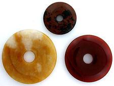 THREE 30-50mm Flat Round Agate Obsidian Donut Pendant Gem Focal Bead