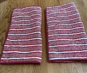 Pair Of Martha Stewart Red White Striped Euro Pillow Sham  Button Closure 25x25