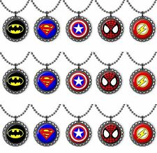 Super Hero Lot of 15 Bottle Cap Necklace Birthday Party Favors Superman Batman
