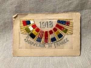 1918 Souvenir de France Embroidered Postcard Flags of the World carte postale