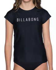 NEW BILLABONG GIRLS KIDS (10) WET SHIRT RASH VEST RASHIE CAMP VIBES BLACK S/SLVE