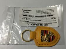 Porsche Yellow Leather Keyring  Key Ring Fob Genuine Metal Badge RRP £40.39