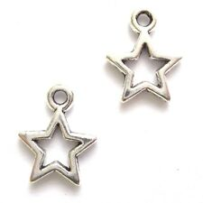 40 Tibetan Silver 12x10mm Hollow Star Charms Jewellery Making