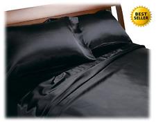 SATIN SHEETS KING Size Soft Silk Feel Bedding 4pc Set Luxury Bed Linen Black