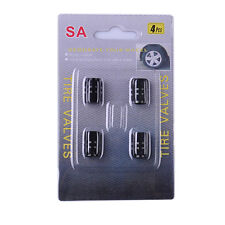 4x Tire Wheel Rims Stem Air Valve Caps Tyre Cover Car Truck Bike Black Aluminum