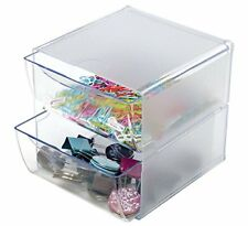 "Stackable Cube Organizer Desk 2 Drawers Clear Dividers 6""W x 6""H 7 1/8""D"