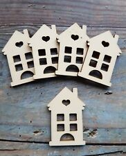5 x HOUSE SWEET HOME CRAFT EMBELLISHMENT MDF WOODEN SHAPE, SCRAPBOOKING, CARDS