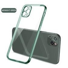 Electrodeposición de TPU Cuadrado Transparente Blando Estuche Cubierta para iPhone 12 11 Pro Max XS XR 8 7