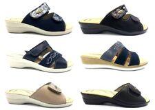 Pantofole ciabatte da donna Tiglio estive aperte vera pelle plantare regolabili