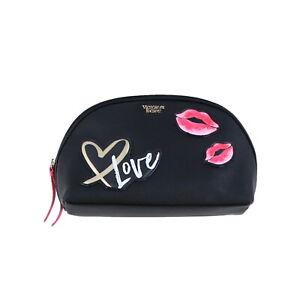 Victoria's Secret Makeup Bag Cosmetic Case Travel Zipper Close Black Casual Love