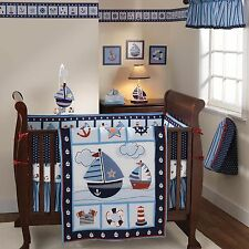 Baby Bedding Sets Crib For Boys Nursery Infant Comforter Sail Away Boats 3 Piece