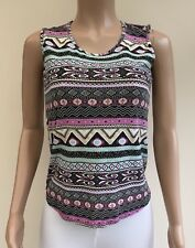 New Look Cameo Rose Pink Gold Black Vest Top Size M 10 - 12  #JT4