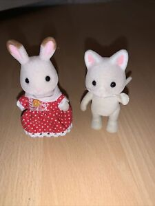 Sylvanian Families Stella Chocolate Rabbit & Silk Cat Girl Figures